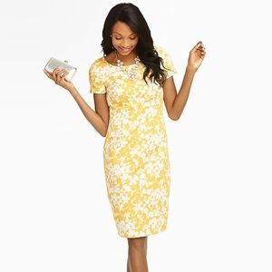 Talbots Yellow Floral Sheath Dress